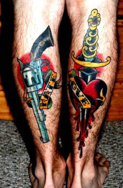 Татуировка на ноге на икре фото